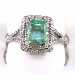 Light Emerald Ring w/Diamond Accents 14k WG 1.53Ct